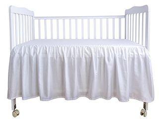 PHF Crib Bed Skirt 100  Cotton White Dust Ruffle Nursery Crib Bedding for Baby 17  Drop