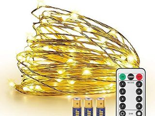JMEXSUSS 8 Modes Timer Remote Control 200 lED 65 6ft Battery Operated Dimmable Fairy String Copper Wire lights for Christmas  Bedroom Wedding  Party  Warm White  Ul588 Approved  200lED 3AA Battery