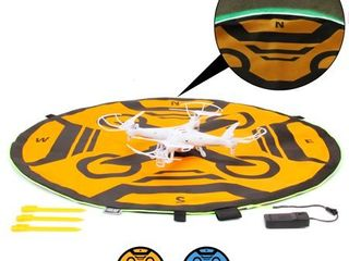 USA GEAR Drone landing Pad with 3 lED lighting Modes   30 inch   Weather Resistant   Double Sided   Universal Helipad launch Pad for Portable RC Quadcopters   Mavic Pro Phantom 4   More