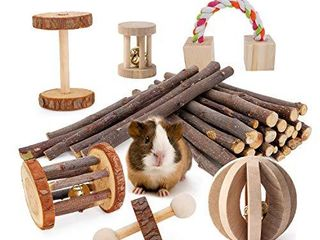 JanYoo Guinea Pig Toys Chinchilla Hamster Roller Rat Chews Toys Bunny Rabbits Exercise Wheels Molar Wooden for Teeth Pack of 7