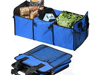 PYRUS Auto Trunk Organizer  Collapsible Car Trunk Organizer Fabic 3 Compartment Food Storage Bags with a Cooler Bag