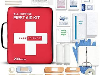 Care Science First Aid Kit All Purpose  200 Pieces   Professional Use for Travel  Work  School  Home  Car  Survival  Camping  Hiking  and More