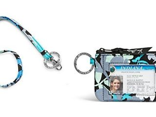 Vera Bradley Zip Id Case and lanyard in Camofloral
