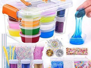 M MOOHAM DIY Slime Kit   30 Pack Ultimate Crystal Slime Making Kit Includes Crystal Slime  Glitter Slime Containers  Foam Balls  Fruit Slices  Fishbowl Beads Kids  Slime kit   12colors Slime kit