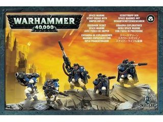 Warhammer 40k Model Miniatures   Space Marine Scout Squad w  Sniper Rifles
