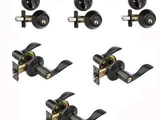 Dynasty Hardware CP HER 12P  Heritage Front Door Entry lever lockset and Single Cylinder Deadbolt Combination Set  Aged Oil Rubbed Bronze    3 Pack    Keyed Alike