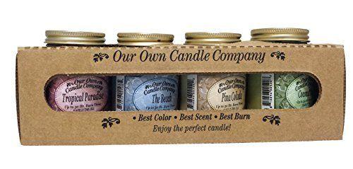 Our Own Candle Company 4 Pack Spring Assortment Mini Mason Jar Candles   3 5 Oz Tropical Paradise  3 5 Oz The Beach  3 5 Oz Pina Colada  3 5 Oz Coconut lime