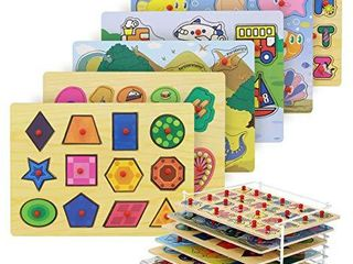 Etna Wood Peg Puzzle Set with 6 Puzzles W  Wire Storage Rack ABC  Numbers  Shapes  Vehicles and Animals