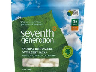 Seventh Generation Free   Clear Natural Dishwasher Detergent Packs   45ct
