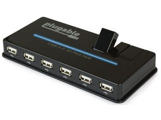 Plugable USB Hub  10 Port   USB 2 0 with 20W Power Adapter and Two Flip Up Ports
