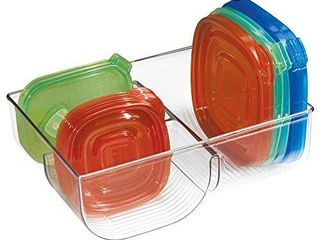 mDesign Food Storage Container lid Holder  3 Compartment Plastic Organizer Bin for Organization in Kitchen Cabinets  Cupboards  Pantry Shelves   Clear