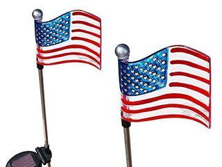 Solar Wholseale 1022 2 American Flag Solar Garden Stake lights  2 Pack in 1