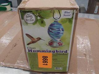 Hummingbird Feeder Blown Glass Yard Garden Patio Functional Art Blue Swirl