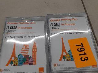 2 Orange Micro Holiday Europe 3gb Internet Data In 4g lte Prepaid Sim Card