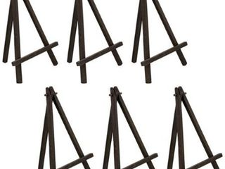 U S  Art Supply 8  High Small Black Wood Display Easel  Pack of 6  A Frame Artist Painting Party Tripod Tabletop Stand