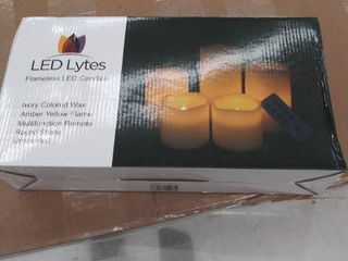 led lytes Battery Powered Candles   Flameless lamp Set Of 5 Round Ivory Wax With