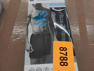 Men s 4pack Knit Boxer 100  Cotton Elastic Closure Beverly Hills Polo Club large