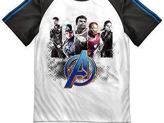 IMl Avengers 5 Superheros Graphic Boys Raglan T Shirt   White 7