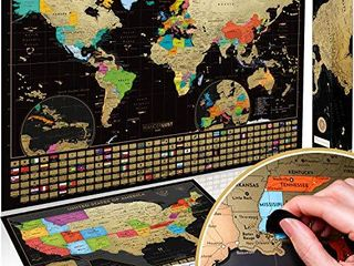 Scratch Off Map of the World   USA Map   Set of Two Deluxe Gold Scratch Off Travel Posters with Colorful Countries  US States and Flags   Made in Europe