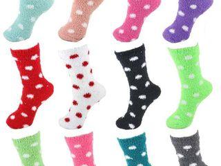 12 Pairs Assorted Super Soft Warm Microfiber Cozy Home Socks   Assortment D1   Bulk Value Pack