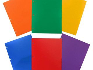 JAM 6pk Heavy Duty 3 Hole Punch 2 Pocket Paper Folder   Primary