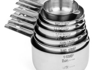 Hudson Essentials Stainless Steel Measuring Cups 7 Piece Stackable Set with Spout includes 1 8th Cup