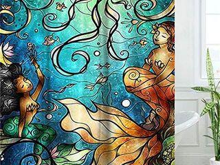 lIVIlAN Mermaid Shower Curtain  Jellyfish Fabric Bathroom Curtains Set with Hooks Marine Ocean Animals Bathroom Decor Washable 72x72 Inches