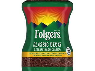 5 Folgers Classic Decaf Decaffeinated Instant Coffee Crystals  8 Ounces