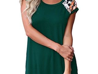 GADEWAKE Womens Casual Floral Print Color Block Short Sleeve T Shirts Blouses Tops Dark Green