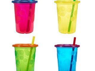 The First Years Take   Toss Spill Proof Straw Cups With Snap on lids  18  Months  4 Pk