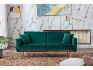 Oteri 68 9  Wide Velvet Flared Arm Convertible Sofa in Green