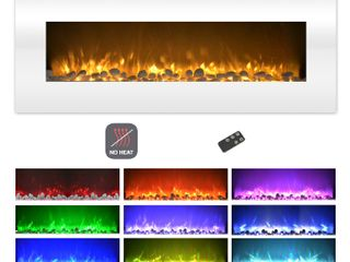 Quigley Electric Fireplace Wall Mounted Color Changing lED Flame  NO HEAT  With Multiple Decorative Options and Remote Control by Northwest  50 inch  White
