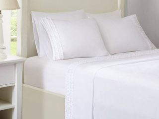 Elica Ruffled sheet set size Queen color white