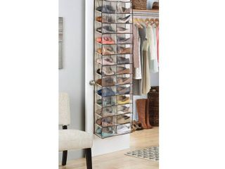 Beige 26 Pair Over Door Shoe Organizer
