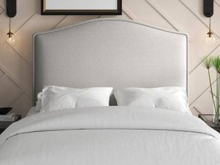 Snowhill Upholstered Panel Full Queen Headboard in White Fabric