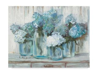 Hydrangeas in Glass Jars Blue  Acrylic Painting Print on Wrapped Canvas  14 x 19 x 2