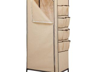 Honey Can Do 27  Storage Closet with Shoe Organizer  Khaki Brown Trim