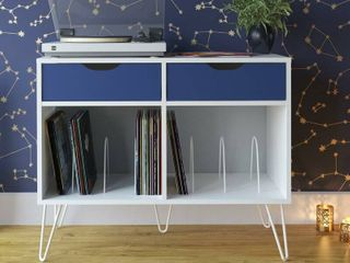 White Blue Concord Audio Rack