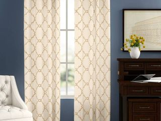 Winnett Geometric Semi Sheer Grommet Single Curtain Panel  Set of 4 Panels