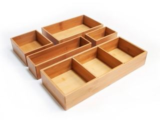 Seville 5 Piece Bamboo Organizer Boxes   Natural  Assorted Sizes