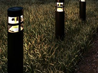 Pure Garden 50 lG1064 Solar Path Bollard 15 4 in  Outdoor Stake lighting   Black   Set of 8