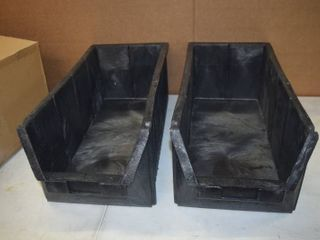 2 large Kadon by Edge Heavy Duty Hopper Storage Boxes Bins   23 5  x 11  x 9    Will hold up to 150 Pounds Each