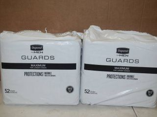 2 Bags of 52 Depend for Men Guards