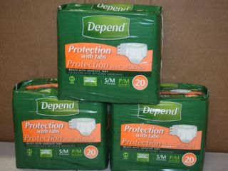 3 Bags of 20 Depends with Tabs Briefs