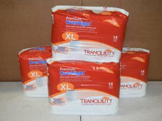 4 Bags of 14 Tranquility Premium Overnight Disposable Absorbant Underwear