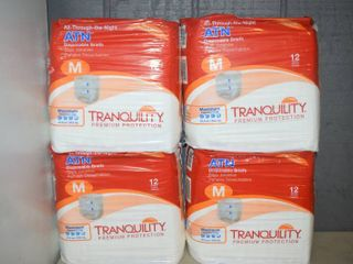 4 Bags of 12 Tranquility All Through the Night Disposable Briefs