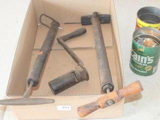 2 Vintage Air Pumps  Antique Crank  cans of nails