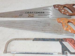 2   Craftsman Hand Saws  1   Hack Saw