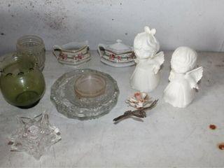 Antique Vintage Glassware   Ash Trays  Cherubs