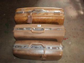 3 Vintage Antique luggage Pieces